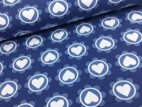 Úplet - srdíčko v kytičce - modrá