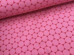 Zimní softshell - puntíky - růžová