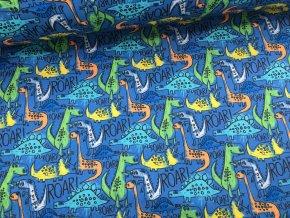 Zimní softshell - barevní dinosauři - doprodej 126cm