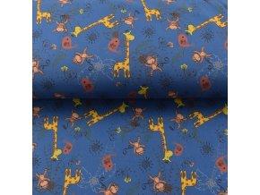 Zimní sofshell - žirafy a opice - modrá - 94cm (2.jakost)