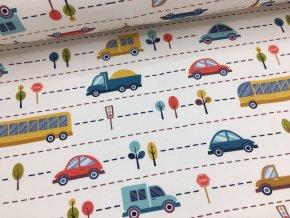 Teplákovina - auta dálnice - nepočesaná - doprodej 80cm