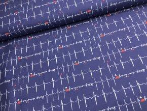 Bavlna - EKG křivka - tmavě modrá