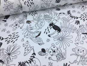 Bavlna - džungle (černý tukan) - vymalovávací - doprodej 64cm