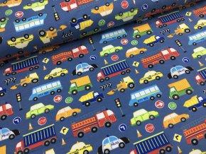 Úplet - dopravní stroje - modrá