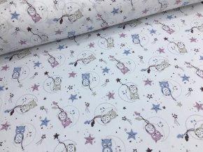 Bavlna - kolekce sovičky - bílá