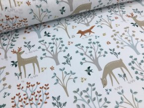 Bavlna - kolekce lesní zvířátka - bílá