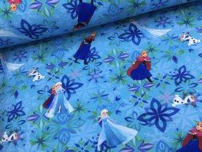 Teplákovina - Ledové království - modrá - doprodej (101cm)