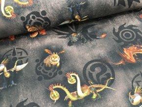 Teplákovina - jak vycvičit draka - černá - doprodej 99cm