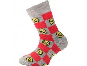 Dětské ponožky - trekingové - smajlíci červená