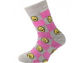 Dětské ponožky - trekingové - smajlíci růžová