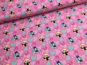 Bavlna - MICKEY MOUSE - růžová
