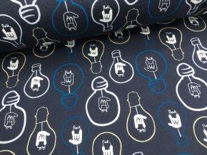 Teplákovina - žárovky tmavě modrá - počesaná