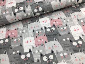 Teplákovina - Kočičky - šedo/růžová