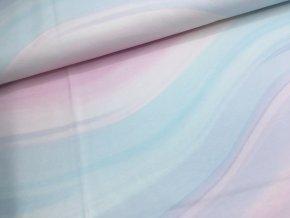 Teplákovina - vlny - růžovo/modré
