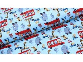 Úplet - zvířátka v autobuse - modrá