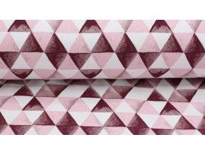 Bio teplákovina - trojúhelníky růžové - počesaná