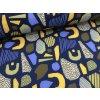 Zimní softshell - abstraktní tvary - tmavě modrá
