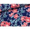 Teplákovina - malované květy na rubu - modrá