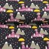 Teplákovina - holčičky s deštníkem na tmavě šedé - počesaná - 49cm (2.jakost)