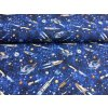 Bavlna - vesmír - modrá