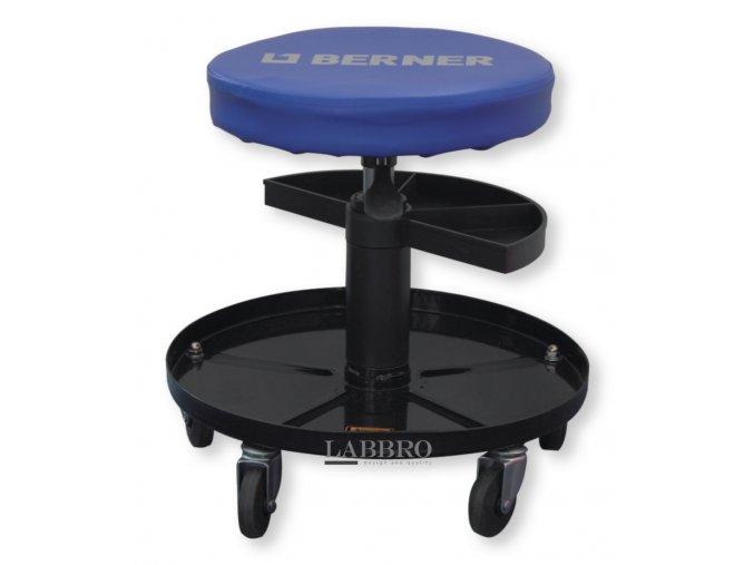 Berner Pojízdná pracovní stolička dílenská stolička s odkládacím prostorme