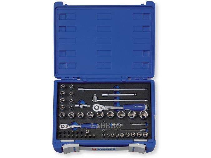 Berner Sada nástrčných klíčů 1 4 a 3 8 vč. ráčny 60 Z, 54 dílná