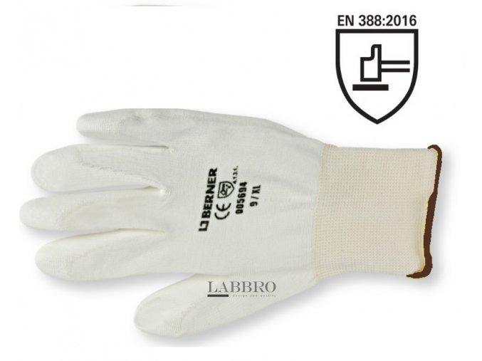 Berner jemně pletené pracovní rukavice bílé velikost 9