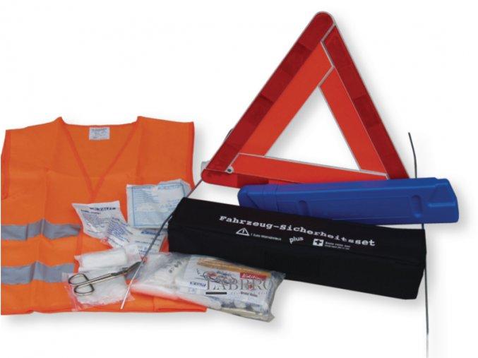 lékárnička 3v1 výstražný trojúhelník, reflexní vesta, autolékárnička