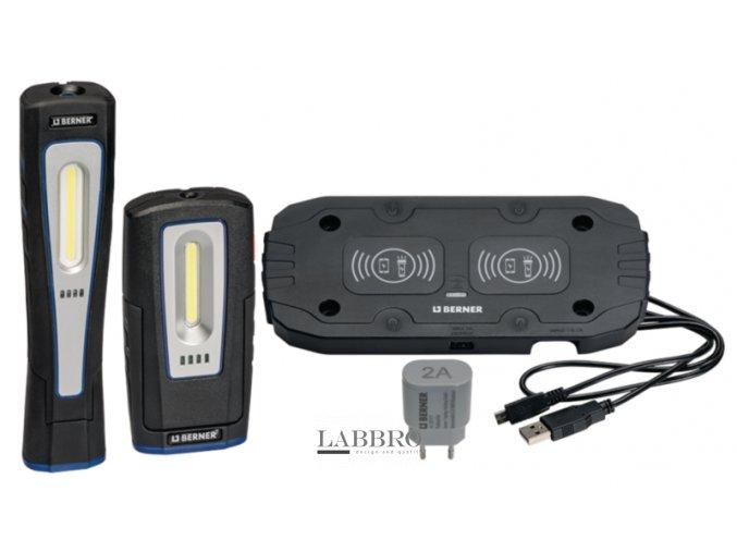 Berner Duální bezdrátová nabíjecí podložka a svítilny Pocket Delux a X Lux