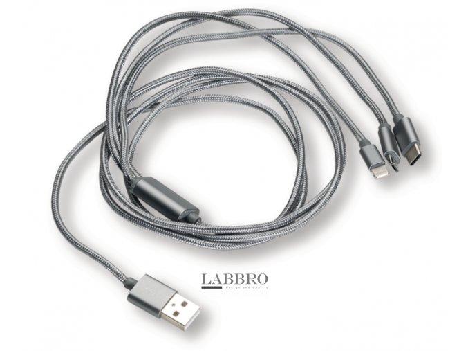 Berner USB nabíjecí multikabel 3 v 1 – Micro USB, Type-C a Lightning