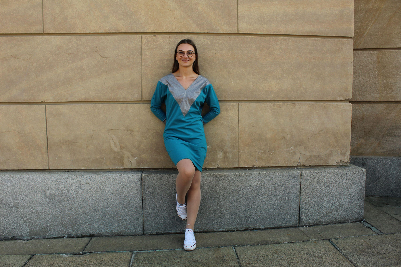 Šaty Party modré se stříbrnou
