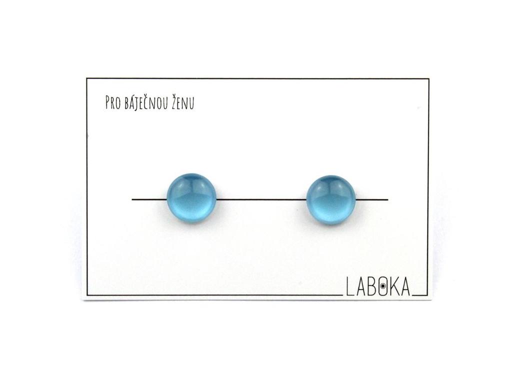 Světle modré náušnice pecky 2