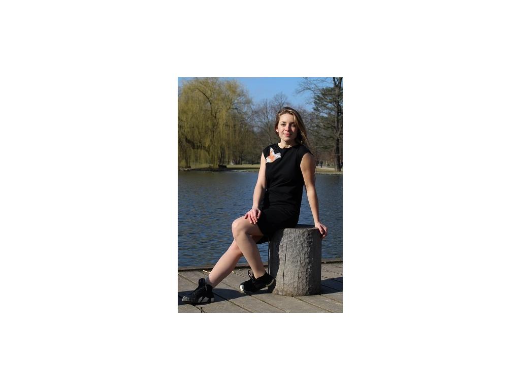Šaty simple černé akvarel ledňáček