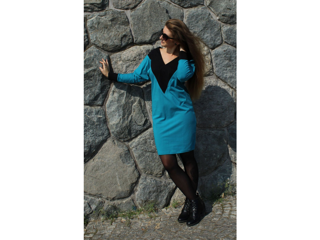 Šaty Party modré s černou