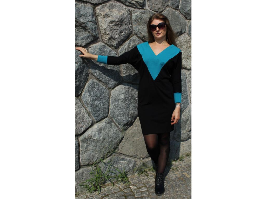 Šaty Party černé s modrou