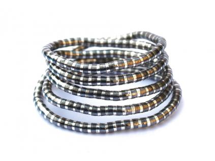 Kreativní náhrdelník pruhovaný stříbrný s tmavě šedivou