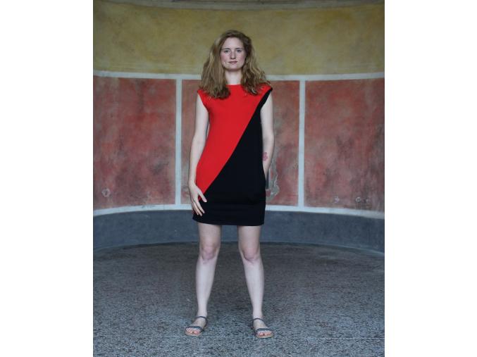 Šaty Šedesátky červenočerné