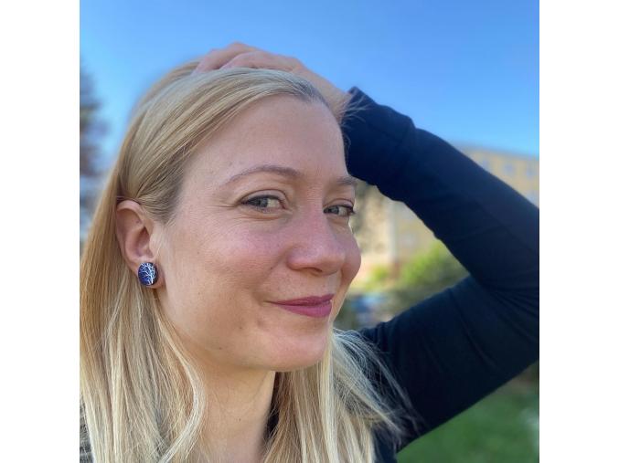 Náušnice pecky modré bílý strom