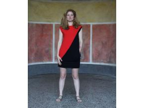Šaty Šedesátky červeno černé