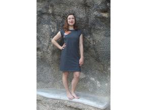 Šaty simple šedivé akvarel ledňáček