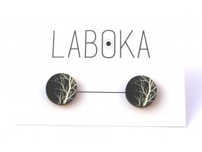 Náušnice pecky černé bílý strom