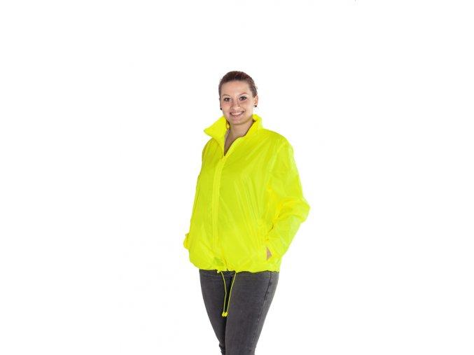 Větrovka s kapucí - fluorescenční barva žlutá