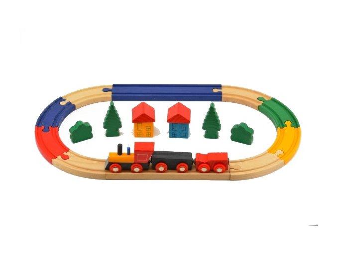 Vlak s kolejemi dřevo 19 ks