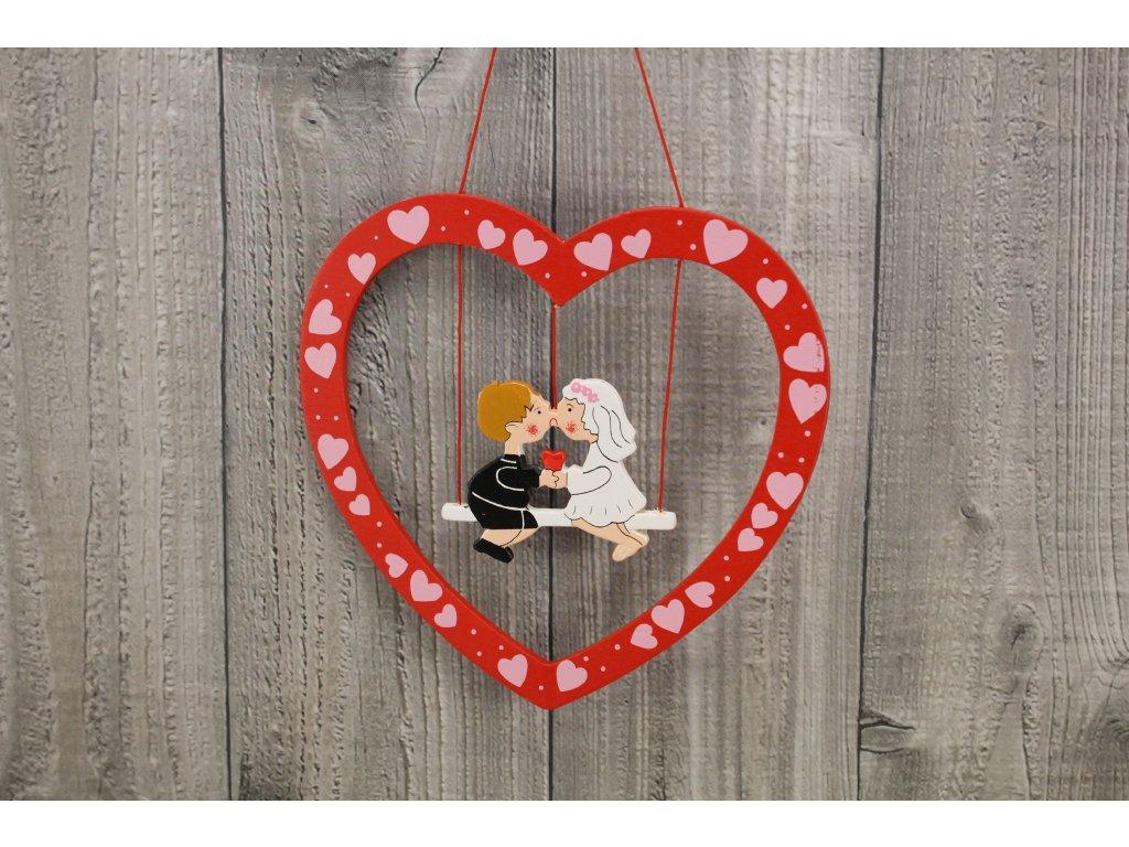 Srdce dřevěné houpačka
