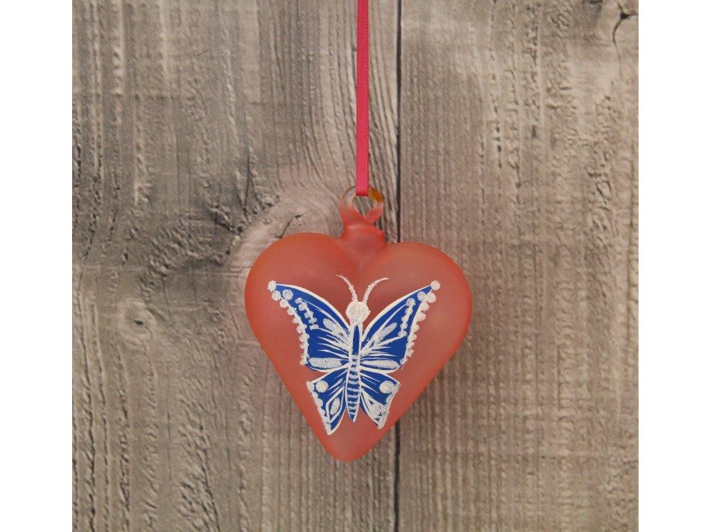 Srdce skleněné modrý motýl