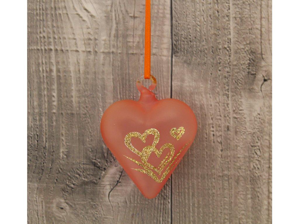 Srdce skleněné zlatá srdíčka
