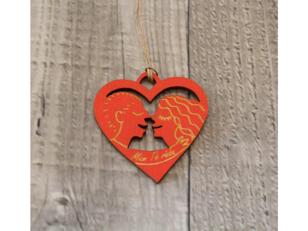 Srdíčko dřevěné milenci