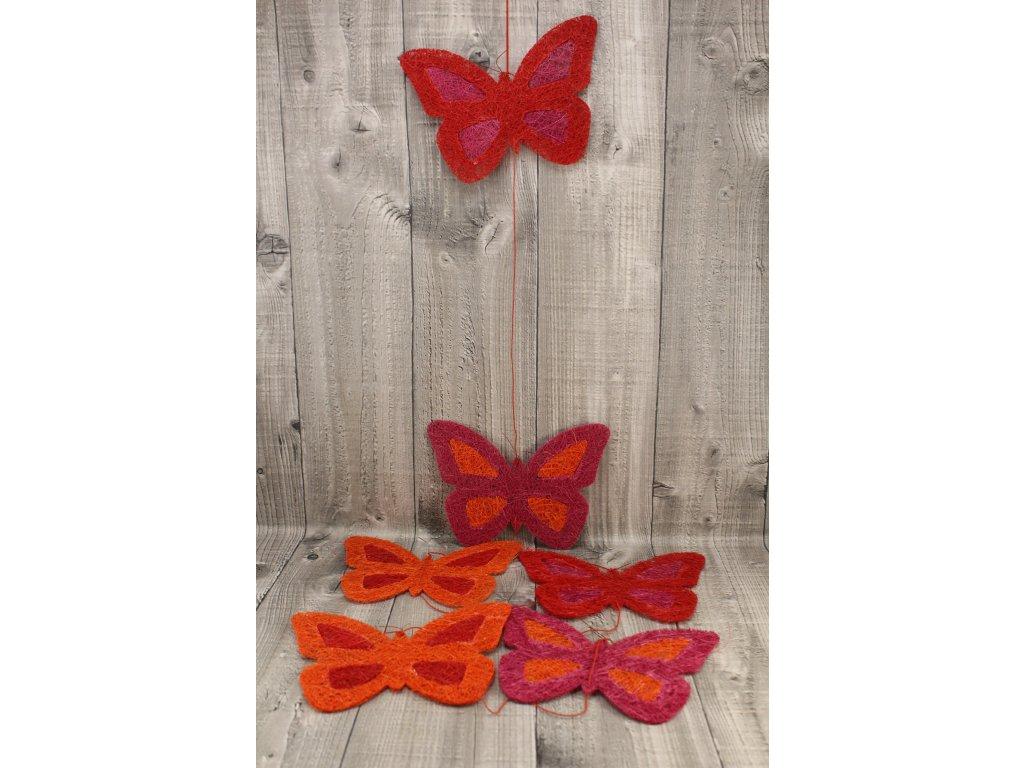Girlanda motýl 21cm červený