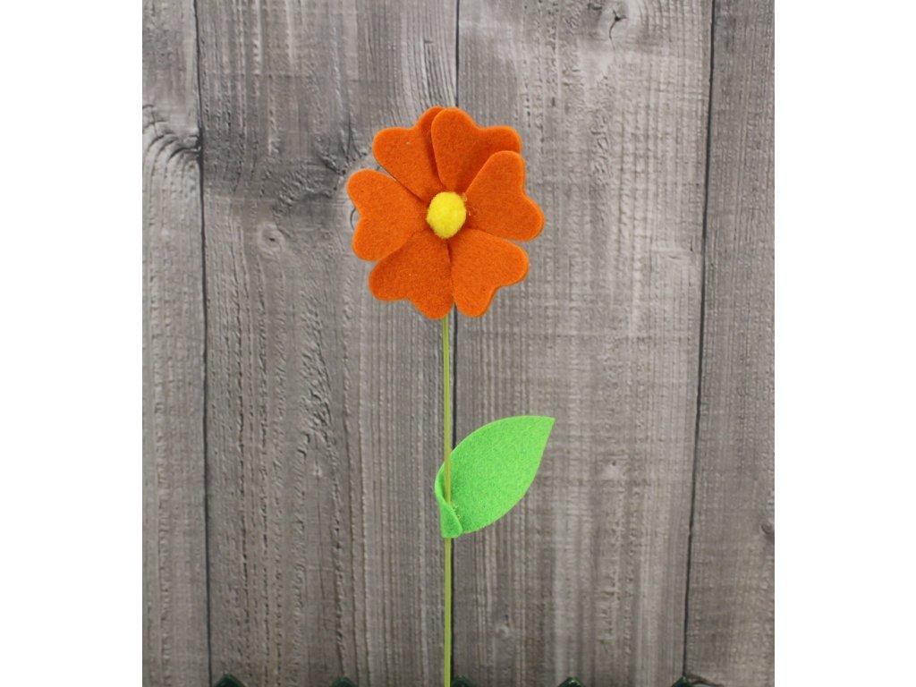 Květ filc oranžový