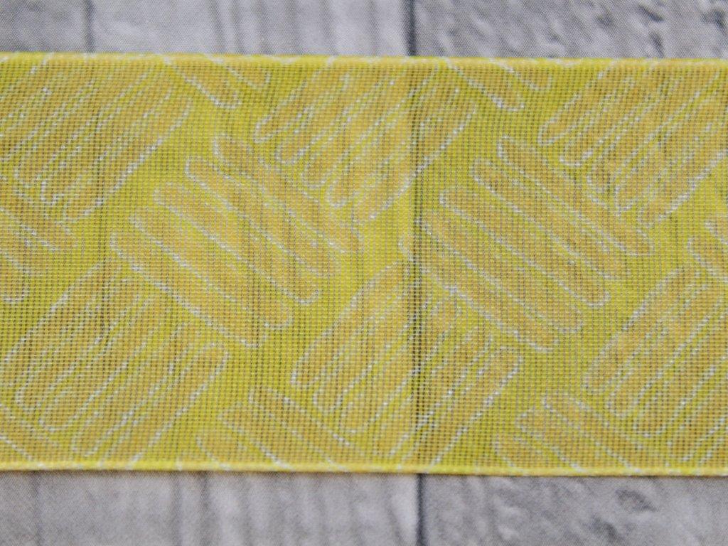 Stuha 40mm čárky/žlutá